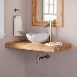 "37"" Bamboo Wall-Mount Vanity Top for Vessel Sink - Show off your unique style with the 37"" Bamboo Wall-Mount Vanity Top, which awaits a faucet and vessel sink."