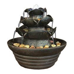 "Sunnydaze Decor - Three Tier Cascading Tabletop Fountain w/ LED Lights by Sunnydaze Decor - Dimensions: 9"" W x 9"" H x 9"" D; 3 lbs"