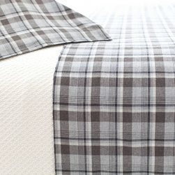 Pine Cone Hill - greyville tartan pillowcase - Designed in the Berkshires of Massachusetts, every item from the pine cone hill bedding collection has been tailored from high quality imported textiles in a variety of versatile neutrals, vibrant hues and engaging patterns. Choose from textiles that weave a complementary theme throughout your entire bedroom and beyond. Many patterns and colors are available in blankets, duvets. throws, decorative pillows, shams and bed skirts.