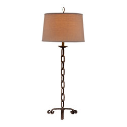 Bassett Mirror - Links Table Lamp - Give your room a chic and industrial edge with this chain-link inspired table lamp. Links Table Lamp is the perfect addition to your transitional home with it's metal finish and beige drum shade.