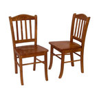 Boraam - 2 Shaker Style Hardwood Dining Chairs w Oak F - Classic design. Shaped seat. Made from Solid hardwood. Minimal assembly required. Seat Depth: 20 mm.. Overall: 17 in. W x 15 in. D x 34.75 in. H