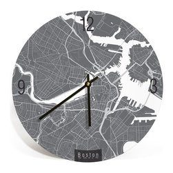 """ArtnWalls - BOSTON MAP ART Wall Clock - Unique Contemporary Art Wall clock - 16"""" Diameter - Abstract Boston map art - Features the streets of Chicago."""