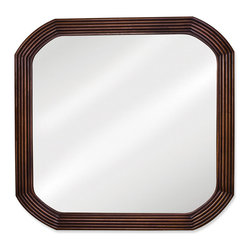 Hardware Resources - Hardware Resources MIR025 Wood Mirror - 26 in  x 26 in  Walnut reed-frame mirror with beveled glass