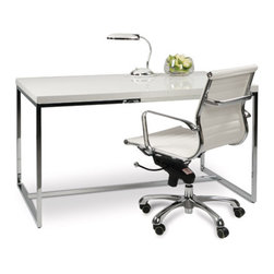 Tate Desk - Fresh modern and functional, the Tate has it all. At a great price. Crafted in a high gloss finish with a chrome frame. Return sold separately, $199.