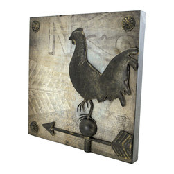 Zeckos - Square Metal Wall Plaque with Chicken Weathervane - This decorative metal wall plaque adds a unique accent to your home decor. It measures 14 inches tall, 14 inches wide, 1 1/4 inches thick, and features a chicken weathervane in the center. It easily mounts to the wall with 2 nails or screws, and makes a great gift for friends and family.