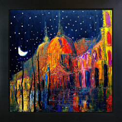 overstockArt.com - Kopania - Night Oil Painting - Night is a beautiful image of abstract landscape with brightly expressive color and line. Enjoy this beauty reproduced as a fine canvas print. Justyna Kopania is from Warszawa, Poland. In her words when she paints she tries to show the 'world', which could be seen by looking at reality that surrounds us, from another perspective, unusual, remote, sometimes through the eyes of the child, sometimes music, composer, or someone who looks lichen on the sea, the moon , the sky and the stars ..., the river ... looks out the window and looks out into the street. Walking down the street looking at people's faces. In rain, snow or fog. Perhaps the world that surrounds us really is quite different than we perceive it every day.