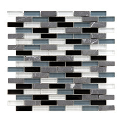 Somertile - SomerTile 12x12-in Reflections Subway 5/8x2-in Charcoal Glass/Stone Mosaic Tile - Give your bathroom or kitchen a boost of modern style with these colorful stone mosaic tiles. Small glass and stone tiles in gray, blue, and black are joined together in a lively pattern that will match a variety of decorating styles.