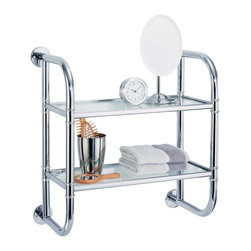 Organize It All 2 Tier Bath Shelf - Features: Chrome finish, Tempered glass shelves, Easy to clean, More counter space, Creates extra floor space
