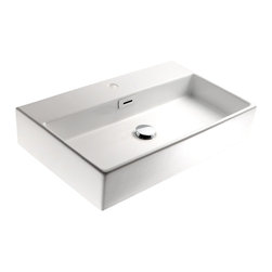 "WS Bath Collections - Quarelo 53710 Ceramic Sink 27.6"" - Boxy can be beautiful when it comes to bathroom sinks. No matter what size your bath, you'll find this Italian-made white ceramic washbasin will fit right in. it comes in four sizes, either square or rectangular, with or without a faucet hole, and can be wall hung or set into the counter."