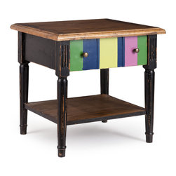 ZUO ERA - Holloway Side Table Natural Top, Distressed Black & Multicolor Frame - Holloway Side Table Natural Top, Distressed Black & Multicolor Frame