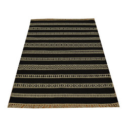 Black Durie Kilim 3'x5' Flat Weave Hand Woven 100% Wool Reversible Rug SH15811 - Soumaks & Kilims are prominent Flat Woven Rugs.  Flat Woven Rugs are made by weaving wool onto a foundation of cotton warps on the loom.  The unique trait about these thin rugs is that they're reversible.  Pillows and Blankets can be made from Soumas & Kilims.