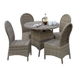 Great Deal Furniture - Bernard Outdoor Wicker 5pcs Dining Set - The Bernard outdoor dining set offers style, comfort and practicality for your outdoor dining needs. This set is completely constructed in durable grey wicker material, with an iron frame for stability. It includes four (4) dining chairs and one (1) round table. The grey color allows this set to be coordinated with most outdoor furniture and the wicker material is both UV and weather resistant.
