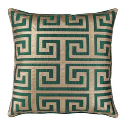 "Z Gallerie - Mykonos Pillow 24"" - Twisting back onto itself like the pattern's namesake River Meander, our Mykonos Pillow is as stately as decoratively distinctive. The Greek key design takes center stage with its careful fretwork applique, mimicking butter soft leather in a rich gold hue atop a crisp emerald backdrop. The generously sized 24 inch square pillow is filled with a sumptuous feather and down insert and a hidden zipper."