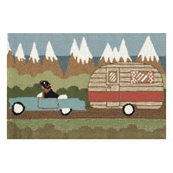 """Trans-Ocean - Camping Dog Green Rugs 1469/06 - 20""""X30"""" - Richly blended colors add vitality and sophistication to playful novelty designs.Lightweight loosely tufted Indoor Outdoor rugs made of synthetic materials in China and UV stabilized to resist fading.These whimsical rugs are sure to liven up any indoor or outdoor space, and their easy care and durability make them ideal for kitchens, bathrooms, and porches."""