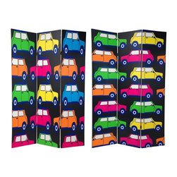 Oriental Furniture - 6 ft. Tall Double Sided Colorful Cars Room Divider - Colorful little motor cars, in pink and yellow, green and orange, against a black background. This attractive room divider had a wonderful, distinctive, quirky design. Great for children's rooms, and for children at heart.