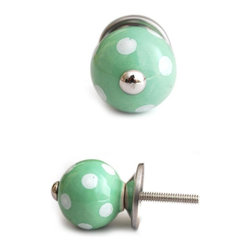 "Knobco - Ceramic Knob, Light Green - Light green cabinet knob with white polka-dots, perfect for your kitchen and bathroom cabinets! The knob is 1.2"" in  diameter and includes screws for installation."