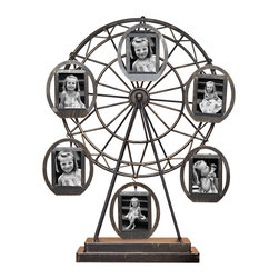 "Philip Whitney - Ferris Wheel Rotating Frame, 2""x3"" - Display your favorite photos in a fun, original way using this Ferris Wheel Rotating Frame. Featuring a slightly distressed metallic ferris wheel with six hanging 2-by-3 inch frames, this piece has a unique, vintage looks that pairs well with rustic design elements. Turn the ferris wheel to adjust the arrangement of photos."