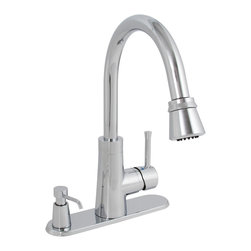PREMIER - Essen™ Kitchen Faucet With Pull Down Spout, Single Metal Lever Handle, And On De - Single-handle kitchen faucet Matching finish pull-down spout Ceramic disc cartridge Metal lever handle On-deck soap dispenser included Cover plate included Includes extra escutcheon plate for 3 or 4 hole applications - Manufacturer: Premier Faucet - PLUMBING - PIPE SUPPORTS & PROTECTION - CLAMPS , SUPPORTS & BRACKETS - BRACKETS.