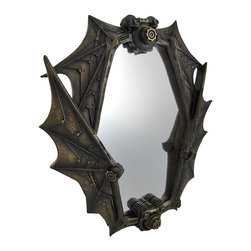 Zeckos - Bronzed Steampunk Bat Wings Mirror - This stunning mirror features two mechanical bats forming the frame around the looking glass with their geared, webbed wings. The bronzed finish of the frame accentuates the intricate system of gears and machinery composing the winged creatures. The frame is formed from cold cast resin and measures 18 inches tall, 16 inches wide, and 2 1/2 inches deep. A metal hanging slot on the reverse side allows this piece to mount on a wall. This gorgeous mirror will make a great accent on any wall as a wonderful addition to any steam punk collection.
