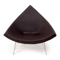 """Kardiel Coconut Chair, Espresso Standard Genuine Leather - George Nelson literally designed the coconut chair after a cross section of a coconut shell. Recognized as one of the founders of mid century modern design, George was known for designing interior furnishing items in the form of elements of nature. His Star Clock and Sunburst Clock are prime examples. The coconut chair is a brilliant example of relating a functional modern lounge chair after the coconut shell. The chair itself was conceptualized in 1955 and the very first chair was handcrafted in 1956. The chair has a flowing hammock feel with shallow sides and inviting curves. The Coconut chair is more than a conversation piece. It is the ideal modern classic lounge chair for relaxing at home, office or lounge setting. You can own your own exacting reproduction of the original Coconut Chair. This reproduction is made to last. Handcrafted to the exact specifications as the original using the highest quality materials. This chair destined to take its place as a permanent """"modern heirloom"""" in the residential or commercial setting of your choice. 100% Italian Leather. Internal molded body bolt sleeves secure the metal frame to the shell. Bolt endure the test of time with no thread loosening. Flex angle adjust floor protecting pad discs compensate for slightly uneven surfaces. Constructed around a curvature """"True To Original"""" glossed fiberglass shell. Braided thread used with Lockstitch (stitch type #301) ensures seams are attractive & long lasting. Features true to original metal frame geometry. High Density CA-117 fire retardant single piece foam rubber cushion. 100% Premium #304 Stainless Steel Base Frame polished to a high sheen. Won't chip, flake, or rust. The entire chair is Hand Sewn & Hand Crafted. Complete with floor protector pads on the bottom of each leg. Approved for residential & commercial use. Chair Dimensions: Width 41.3"""", Depth 35"""", Height 34.6""""."""