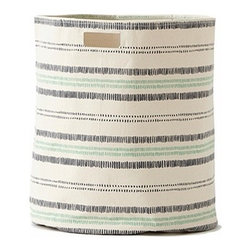 Pehr Indigo/Grass Railroad Canvas Storage Hamper - This whimsical hamper in squiggly indigo blue and grass green horizontal lines print is unique and durable. Made from 100% Heavy weight cotton canvas and machine washable. Just one of many prints to choose from, the Petite Pehr Alphabet Hamper will fit perfectly into your child's room.