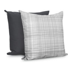 OLLI+LIME - Hatch Pillow - Heavyweight cotton pillow in gray and white Hatch design. Contrasting reverse, piping and zipper. Includes down alternative insert.