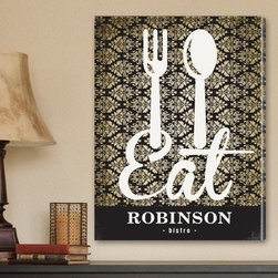 Bistro Sign Personalized Canvas Print - 8W x 18H in. - The attractive Bistro Sign Personalized Canvas Print is the perfect canvas wall art for your kitchen or diner. Personalize it with up to 15 characters. It features the word bistro under your personalization and has a bold fork-and-spoon logo with the word 'eat' over an ivory and black, wallpaper-style filigree pattern. A delightful kitchen interior accessory the whole family will love.About JDS MarketingLike many great start-ups, JDS Marketing started in a garage. It was 1992 when brothers Steve and Jeff Deters came up with their concept of developing a unique line of personalized wedding party gifts. JDS Marketing is based in Minnesota and delivers unique gifts that have been personalized by sublimation, diamond engraving, laser etching, digital printing, embroidery, and screen printing. JDS currently supplies personalized gifts to over 2,000 retail accounts, shipping several hundred gift orders each day.