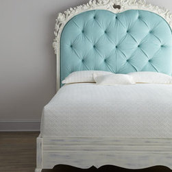 "Florence de Dampierre - Florence de Dampierre ""Bouvier"" Bed - Classic with a twist—a highly-carved and light blue diamond-tufted headboard adorns this impressive bed. From the Florence de Dampierre Collection for the John-Richard Collection. Handcrafted of acacia wood. Polyester ultra-suede upholstery. H..."