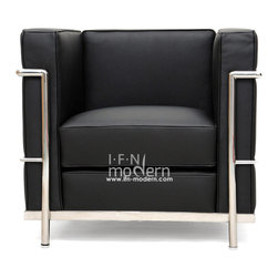 IFN Modern - Le Corbusier LC2 Style Armchair-Black - 100% Italian Leather - Created by one of the most well-known swiss-french architects Le Corbusier (Charles-Edouard Jeanneret-Gris), the LC line is Le Corbusier's successful effort at fusion of urban style with the industrial steel age as a breakthrough to modernism. Like a cushion cradle, the LC Reproduction line boasts a unique, stylish and attention-grabbing externalized frame that holds the cushions like little baskets. Originally designed for the Maison la Roche in Paris as part of Le Corbusier's 2 projects, the final product of chrome-plated tubular steel chairs have now become an iconic timeless collection imbued with elegance and class. As a specialized manufacturer of famous mid-modern designer furniture, the LC Line Reproduction by IFN Modern also reflects these qualities not only in terms of classy and elegant appearance but also in utmost care in details such using premium construction material in 100% full grain leather and solid stainless steel.  This collection features:1.Signature look of externalized steel frame 2.Plush cushions that stay in shape to cradle the contours of the delicate body for a perfect fit and comfortable session.  3.Back to front to bottom, side to side fully upholstered in full grain Italian/Aniline leather4.Functionally elegant piece of fusion of traditional club chair and modern art •Product is upholstered in 100% Full Grain Italian Leather, 100% Full Grain Aniline Leather or Fabric  •Variety of colors available•Long lasting durability and strength with high grade solid stainless polished steel frame resistant to chipping/rusting.•Silky smooth corners from detailed welding, grinding and sanding•Balanced stability on all surfaces with adjustable floor-leveling footcaps•Plush cushions that stay in shape for short-long sessions comfort with high density injected foam.