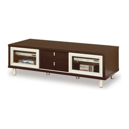 Global Furniture USA - M720TV-W Wenge Veneer Finish Entertainment Unit - The M720TV-W Entertainment Unit will be a lovely addition to your living room decor. The TV unit has a sleek wood Veneer construction creates a sturdy frame, with smooth, clean lines. The top is finished in a warm wenge color and is large enough to hold just about any television. It features two glass sliding doors and drawers that provide space for electronic components and other media items.