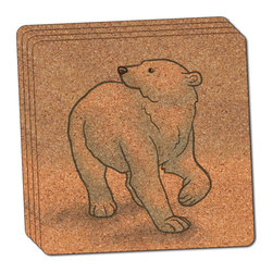 """Made on Terra - Polar Bear Thin Cork Coaster Set of 4 - You're just cleaning up after your epic party when you realize it... something's different. Unlike all those other times, you're not mopping up cup condensation from your counters and tables. This time, everyone used a coaster. Everyone. Maybe it's because you handed out a coaster with every glass. No. You've tried that before. No, this time it's because of the actual coasters. You found the cutest Made On Terra printed cork coasters. You love that everyone commented on how unique they were,  from the light-weight, thin cork material to the printing that creates a cool and subtle effect. Plus, they're really absorbent, but dry quickly. And they're made from an eco-friendly, sustainable resource, so that makes you feel pretty great, too. Choose from Made on Terra's many fabulous cork coasters. Measures 4"""" x 4"""" x 1/8"""". Made of thin cork. Super cute and nicely absorbent. Sold in sets of four."""