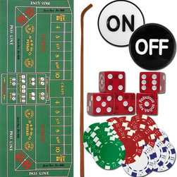 Trademark Global - Poker & Casino Games Craps Accessory Set - 5 Authentic dice. Professional ON/OFF button. 200 chips with 11.5 grams weight. Dice stick: 35 in. long. Felt layout: 36 in. L x 72 in. W. Overall: 38 in. L x 6 in. W x 6 in. H (8 lbs.)