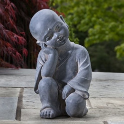 Alfresco Home Thinking Buddha Garden Statue