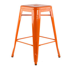 """sugarSCOUT - Custom Painted Tolix Style 24"""" & 30"""" Counter or Bar Stools, Orange, 24"""" - Go bright....go colorful."""