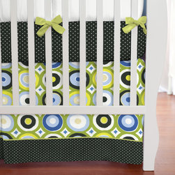 Lots of Dots Crib Skirt - Blue and Green Giddy Dot crib skirt with 4-inch trim in Black and White Middy Dot and accent in Solid Citron.
