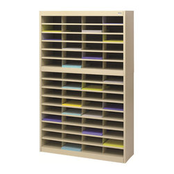 """Safco - E-Z Stor Literature Organizer, 60 Letter Size Compartments - Sand - Almost too E-Z! Quality-built, premium steel unit has a strong steel frame, shelves and dividers with a solid fiberboard back. Interlocking design of the shelves and dividers add extra strength to hold up to the heaviest load. Wide shelf fronts serve as generous label holders. Unit features 60 letter-sized compartments. Each compartment will hold up to 750 sheets.; Features: Material: Steel; Color: Sand; Finished Product Weight: 124 lbs.; Assembly Required: Yes; Tools Required: Yes; Limited Lifetime Warranty; Dimensions: 37 1/2""""W x 12 3/4""""D x 60""""H"""