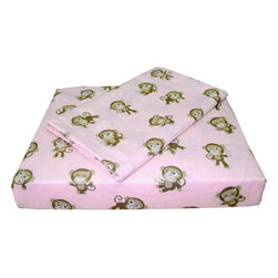 Country Club Products - Playful Monkeys Pink Animals Twin Bedding Sheet Set - Features: