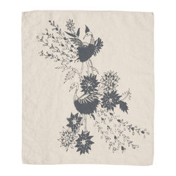 Cricket Radio - Indochine Paradise Hand Towel, Cream/Charcoal - Looking for a little soft color and handmade style? This towel can give you a hand. Made of Italian linen, it features a bird and floral pattern and comes in several easy-to-coordinate colors. Use it in the kitchen or bath or buy several to use as oversized napkins.