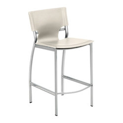 Nuevo Living - Lisbon Counter Stool, Set of 2, White - Beautiful design comes through in the details. Take this counter stool, for instance: Its subtly curved back legs and cutaway leather seat back make it the standout choice for counter seating in your modern home.