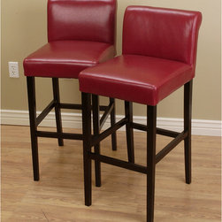 None - Cosmopolitan Burnt Red Leather Barstools (Set of 2) - Whether you have a home bar or just need more stylish seating options, these red leather bar stools are ideal. Consisting of solid wood frames, foam cushioning and supportive footrests, these modern stools promise durability and comfort.