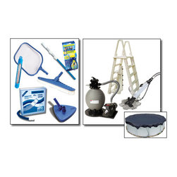 Blue Wave - Blue Wave Premium Round Sand Equipment Package - 24 ft Small - Our premium sand pool equipment packages provide what you need to get swimming and maintain your pool! Packages include a Sandman  pump and filter system, premium a-frame ladder for safe and easy entry. Step up to the premium package and add a dirtblaster; automatic cleaner and an Arctic Armor; winter pool cover. Available with 18; Sandman  sand filter system and 1-hp pump for pools up to 24 round/12 x24 oval; available with 22; Sandman  sand filter system and 1-1/2 Hp pump for pools larger than 24' round/12 x24 oval; premium a-frame ladder; maintenance kit: 3-Piece telepole, leaf skimmer, thermometer, vac hose, vinyl liner vacuum head, nylon wall brush and test strips; dirtblaster; automatic cleaner; 8-year Arctic Armor; winter cover.
