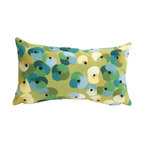 """Trans-Ocean Inc - Pansy Lime 12"""" x 20"""" Indoor Outdoor Pillow - The highly detailed painterly effect is achieved by Liora Mannes patented Lamontage process which combines hand crafted art with cutting edge technology. These pillows are made with 100% polyester microfiber for an extra soft hand, and a 100% Polyester Insert. Liora Manne's pillows are suitable for Indoors or Outdoors, are antimicrobial, have a removable cover with a zipper closure for easy-care, and are handwashable.; Material: 100% Polyester; Primary Color: Lime;  Secondary Colors: aqua, green, ivory; Pattern: Pansy; Dimensions: 20 inches length x 12 inches width; Construction: Hand Made; Care Instructions: Hand wash with mild detergent. Air dry flat. Do not use a hard bristle brush."""