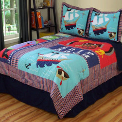 Pirate Treasure Quilt with Pillow Sham - The quilt might be overkill, but I really like these pirate pillows that have a patchwork design and are full of modern color.