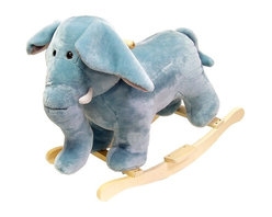 Happy Trails - Plush Rocking Elephant w Wooden Rockers & Han - Recommended for ages 2 yrs. old & up. Recommended Weight Limit: 80 lbs.. Soft and plush to the touch. Hand crafted with a hard wood core and stands on sturdy wood rockers. 27 in. L x 14.25 in. W x 20 in. H (12.50 lbs.). Seat Height: 18 in.This cuddly creature is a wonderful toy and a beautiful piece of furniture. Any child would love to ride on this friendly, elegant elephant. Its stately and striking appearance will look great in any child's room.