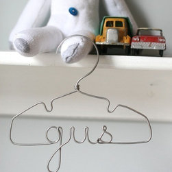 Personalized Wire Hanger by Lila Frances - Hang your child's cute jacket on a personalized wire hanger.  Or you can even hang this hanger by itself on the wall. It's so cute!