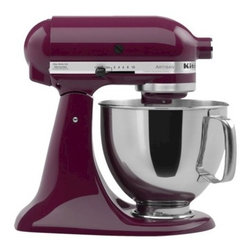 Boysenberry Purple KitchenAid Artisan 5 Qt Stand Mixer : Target - KitchenAid first sold their home mixers in 1919. Since then, KitchenAid Stand Mixers have become easier for the home chef to buy, store and use, but the reputation for sturdy construction and reliable performance has not changed. The KitchenAid Artisan Mixer has a 5-qt. bowl with a comfort handle; it boasts 325 watts of power for mixing double batches. The KitchenAid Stand Mixer has an accessory hub that accepts a variety of attachments that simplify many common kitchen chores like vegetable slicing, food grinding and even making fresh pasta and homemade ice cream. Add this stylish and iconic tool to your kitchen today.