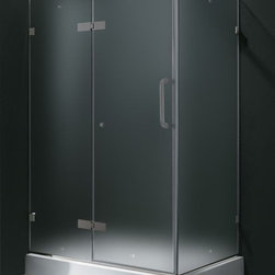 Vigo Industries - 32 in. x 40 in. Frameless Frosted Shower Enclosure with Base - Update your bathroom with this uniquely stylish and totally frame less Vigo rectangular-shaped shower enclosure. Clear PVC side gasket installs vertically onto door to ensure a water-tight seal between door and side panel when the door is in the closed position. Constructed of acrylic with fiberglass reinforcement this Vigo shower base features a double threshold textured bottom for added safety. Durable cross-linked cast acrylic shell is extremely scratch and stain resistant yet renewable because the color goes all the way through the material.