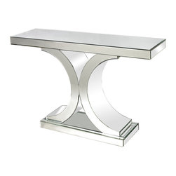 Lazy Susan - Mirrored Console Table - The Sleek Shiny Curves Of This Mirrored Console Dress Up Any Space. Light Is Captured And Refelected From All Surfaces Creating Brightness And The Illusion Of Space. The Console Is Mirrored On Both Sides Making It Suitable For Use In The Centre Of A Room As Well As Against A Wall.