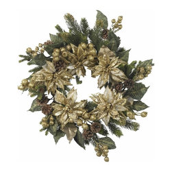 "24"" Golden Poinsettia Wreath - The holidays aren't always red and green, as this stunning golden poinsettia wreath demonstrates. With a magical combination of golds, greens, and browns in various hues and textures (including faux pine stems and pine cones), this wreath adds a regal touch to any holiday decor, and is matchless in its stately charm. Height= 24 in x Width= 24 in x Depth= 24 in"