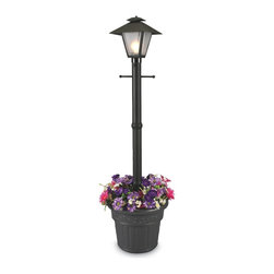 """PLC - Cape Cod Black Single Coach Lantern Planter - Design inspired by turn of the century gas flame lanterns. This electric waterproof lantern planter features frosted bevel panels, black resin construction and cast iron colored resin planter base. Two level dimming switch and 10 ft. weatherproof cord and plug. 1-100 watt bulb maximum. Dimensions: 80"""" tall x 21"""" diam. planter base"""